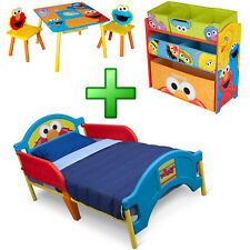 Boy Bedroom Furniture Set Toy Organizer Kid Child Toddler Bed Table Chairs New