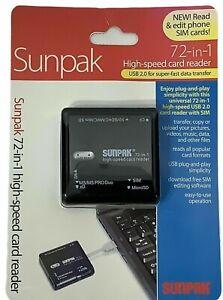 Sunpak 72-in-1 High Speed Card Reader Universal USB 2.0 Card Reader with SIM