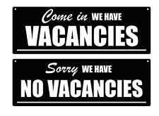 Vacancies, No vacancies Acrylic Sign - for B&B Guesthouses Hotels Double Sided