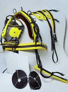 NEW DELUX BIOTHANE BREACHING TIE DOWN HARNESS BROWN YELLOW COLOR FULL COB PONY