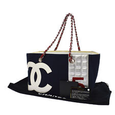 Auth CHANEL Cruise Line Quilted CC Logos Shoulder Tote Bag Navy Canvas RK11742