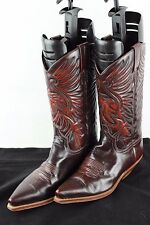 VINTAGE Cowboy Western in Pelle Cherry Biker Equitazione Country RANCH misura UK 6 5US