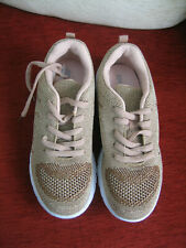 JD WILLIAMS BEIGE/METALLIC TRAINERS - SIZE 4E - NEW