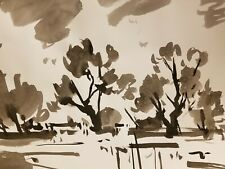 JOSE TRUJILLO - ABSTRACT EXPRESSIONISM INK WASH on Paper NEW Landscape Tonalism