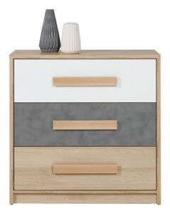 Aygo Chest of Drawers Cabinet Cupboard Storage Modern in White Oak & Grey Colour
