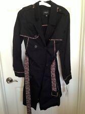 New Jason Wu Target Black Trench Coat Jacket lace trim Cotton L Large 12 NWT
