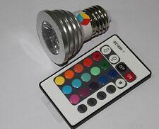 SPOT RGB LAMPADA FARETTO E27 MULTICOLORE 3W POWER LED TELECOMANDO CROMOTERAPIA