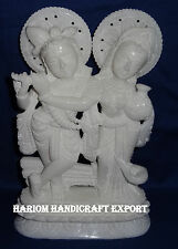 "7"" White Marble handmade Radha krishna Sculpture Reglious Goddess Arts Decor"