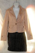 Forever 21 Light Peach Womens Jacket Blazer Cotton Flowers Large Office