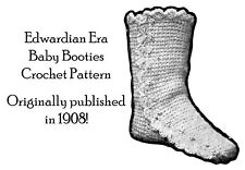 1908 Baby Booties Boots Vintage Crochet Pattern Edwardian DIY Tricot Tunisian