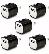 5x 1A  Black USB Wall Charger Plug AC Home Power Adapter FOR iPhone 5 6 Samsung