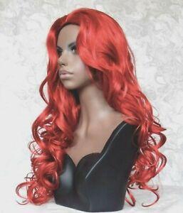 Long Wavy Deep Red, Skin Top, No Bangs, Full Synthetic Wig - #92