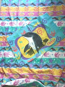 VTG Flipper Dolphin Bed Flat Twin sheet & pillow case USA TV Show 1996