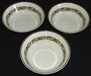 Royal Doulton England Holiday Set of 3 Soup Bowls - Brown Trim 6 1/4""