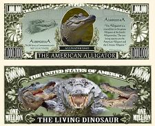 American Alligator Million Dollar Bill Collectible Fake Funny Money Novelty Note