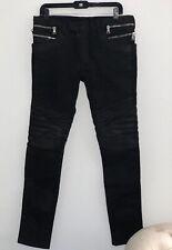 Balmain Mens Black Coated Wax Biker Jeans Size 31 Original Price $1840
