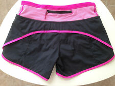 Lululemon Black Pink Stripe Run Times or Turbo Run Shorts size 2 RARE