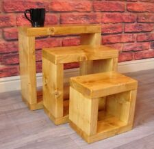 Pine Square Nested Tables without Assembly Required