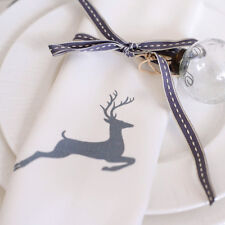 Luxurious Designer Christmas Napkins 100% Cotton Made In UK Vintage Grey Stag