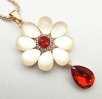 Betsey Johnson Red White Opal Crystal Flower Pendant Sweater Necklace