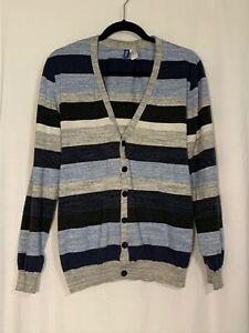 Men's Divided by H&M Blue/Gray Striped Cardigan Sweater Size XL