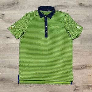 RLX Ralph Lauren Polo Mens Large Green Navy Blue Striped Golf Shirt Embroidered