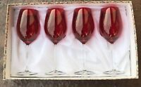 Stemware Italian Imported  Goblets Ruby Red  Set Of 4  New In Box