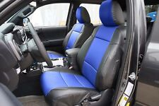 TOYOTA TACOMA 2016- BLACK/BLUE LEATHER-LIKE CUSTOM MADE FIT FRONT SEAT COVER