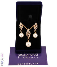 Parure donna oro Swarovski Elements originale G4Love strass perle collana regalo