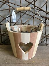 Parlane natural wooden bucket with heart tea light holder with glass inner 13cm