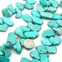 "Large Blue Magnesite Turquoise Freedom Nugget Loose Beads 8""(TU378)f 25-32mm"