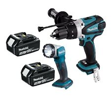 Makita DHP458 18v Cordless Li-Ion Combi with Two BL1830 Batteries + DML802 Torch