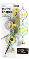 Bird Cage Revoling Mirrors, Shapes and Bell Toy, Budgie, Parakeet, Cockatiel etc