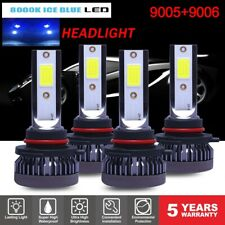 4PCS 9005 9006 LED Headlight Kit Combo 220W 44000LM High Low Beam 8000K Ice Blue