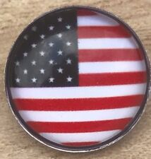 USA Flag Red White Blue Interchangeable Snap Button Noosa 18mm for snap jewelry