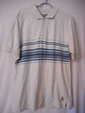 Size L short sleeve polo style shirt 100% cotton grey with blue green stripes