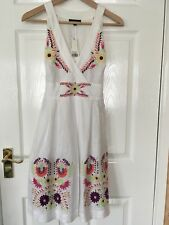 Warehouse White Linen Embroidered Dress - BNWT - Size 8