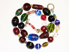 """Vintage Art Glass 20"""" Necklace Lots of Multi Color Millefiori Beads jewelry"""