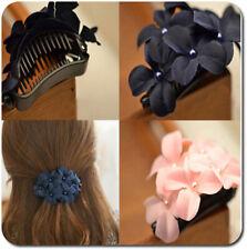 Haarclip Haarspange Clips Spange Haarkammer Blumen Stoff Bananenspange Haarkrebs