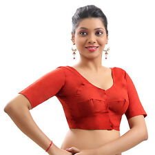 RED Cotton Casual Blouse Top Choli Indian Bollywood Wedding Traditional Saree NW