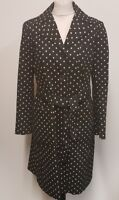 H270 WOMENS JAEGER BLACK BEIGE DOTTED COAT / JACKET MEDIUM M 10 EU 38