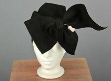 Vtg Women's 30s 40s Black Wool Felt Turban Style Hat w Giant Bow 1930s 1940s