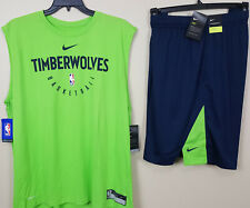 NIKE MINNESOTA TIMBERWOLVES TEAM ISSUED OUTFIT SHIRT +SHORTS BLUE NEW (SIZE 3XL)