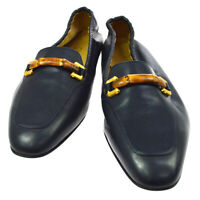Authentic GUCCI Bamboo Line Shoes Loafers Navy Leather #38 1/2 C Vintage Y03931