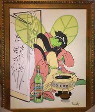 John Pacovsky Absente Absolute Vodka Large Asian Original Oil Painting