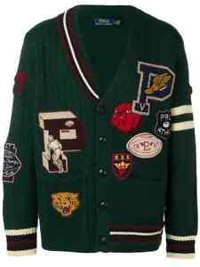 Polo Ralph Lauren Wool Patchwork Varsity Crew Letterman Cardigan Sweater Jacket