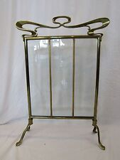 Art Nouveau Beveled Glass and Brass Fireplace Screen