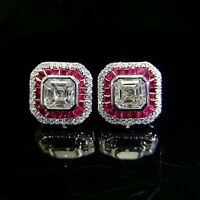 Certified 3.00 Ct 14k White Gold Over Diamond Fascination Asscher Stud Earrings