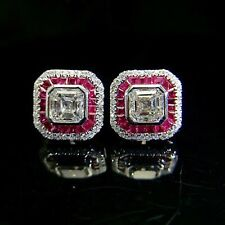 Certified 3.00 Ct 14k White Gold Over White & Pink Diamond Asscher Stud Earrings