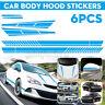 Car Body Side Door Hood Sticker Stripe Rearview Mirror Decal Racing Style Blue